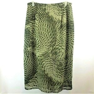 Liz and Me Size 1X Green Swirl Sheer Lined Skirt